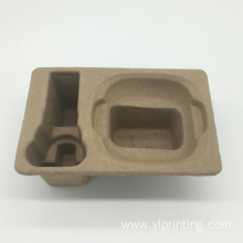 Disposable waste paper pulp molded electronics tray